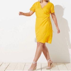 Loft Eyelet Sleeve Linen Blend Wrap Dress